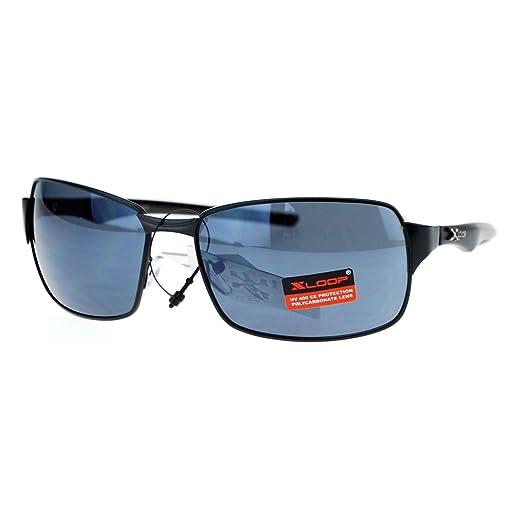 0946d6d693 X Loop Mens Narrow Rectangular Metal Rim Mirrored Lens Sport Sunglasses  Black
