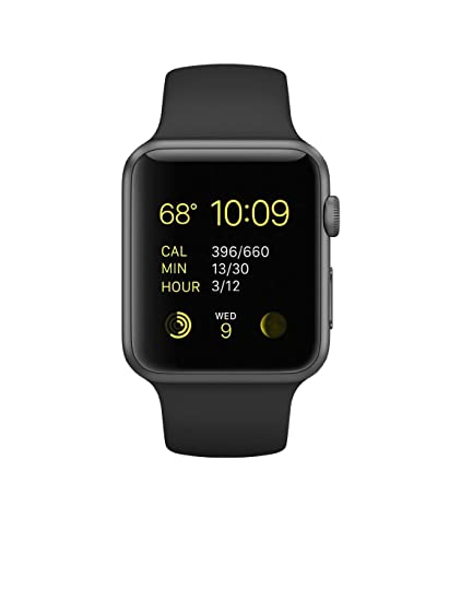 6b91f49254a Amazon.com  Apple Watch Sport 42mm Space Gray Aluminum Case with Black Band  (Renewed)  Cell Phones   Accessories