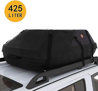 Pujuas Auto Dachboxen 15 Kubikfuß Faltbare Dachtasche Wasserdicht Auto Dachkoffer Dachbox Tasche Aufbewahrungsbox Für Reisen Und Gepäcktransport Schwarz Auto