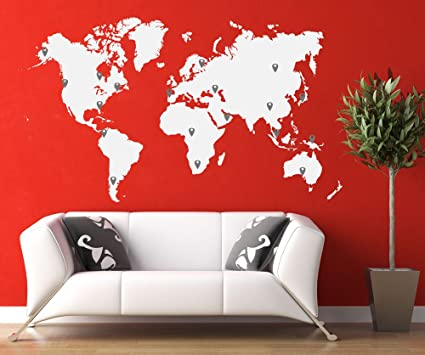 Amazon stickerbrand world map wall decal sticker w224 pins stickerbrand world map wall decal sticker w224 pins white map wred gumiabroncs Image collections