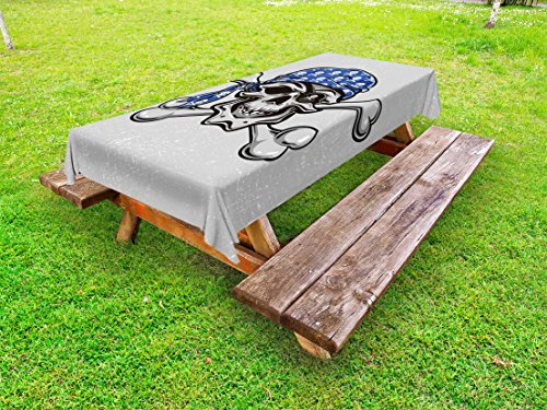 Ambesonne Skull Outdoor Tablecloth, Scallywag Pirate Dead Head Grunge Horror Evil Sailor Crossed Bones Kerchief, Decorative Washable Picnic Table Cloth, 58