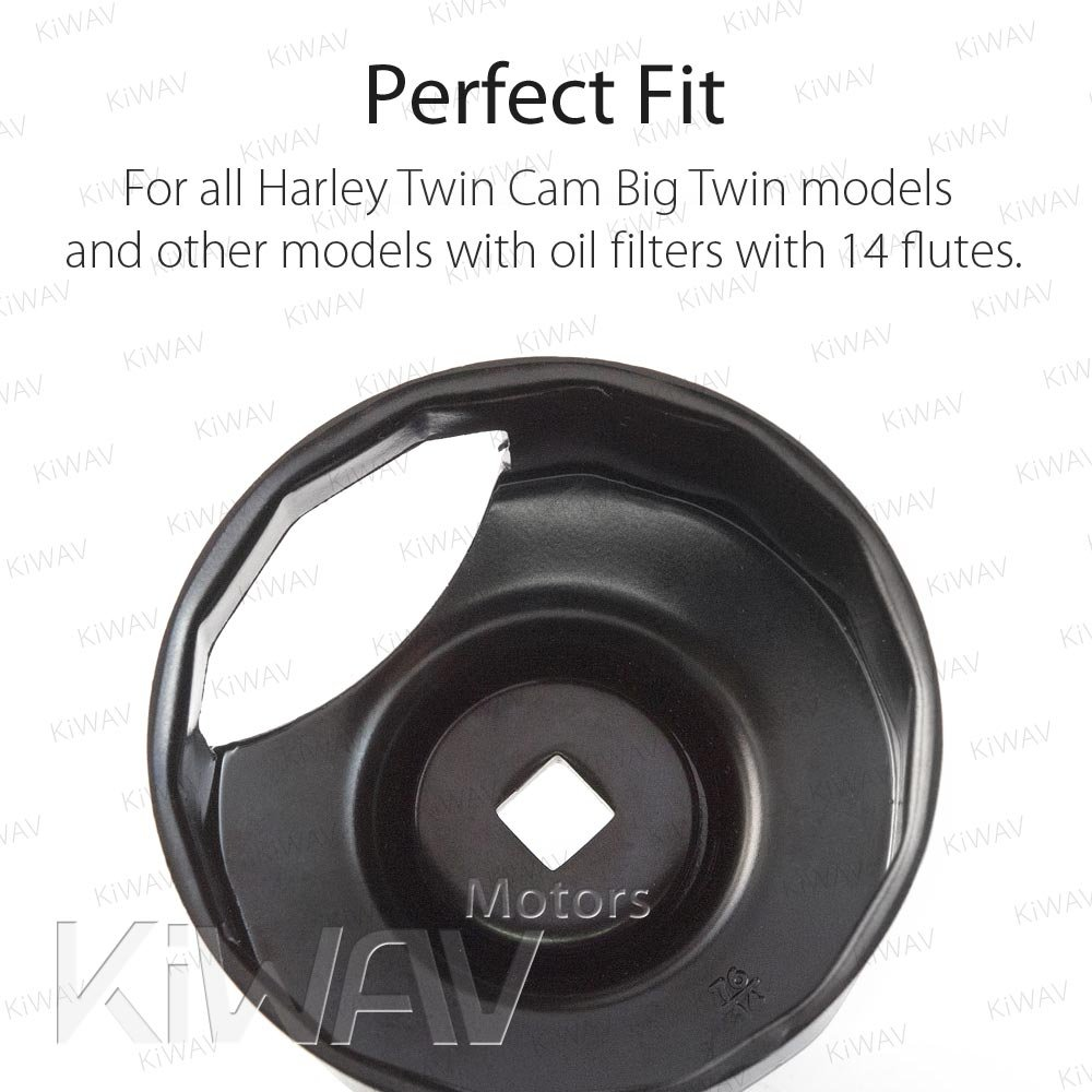 Oil Filter Cap Wrench for Harley Davidson Oil Filters with 76 x 14 Flutes Crank Sensor