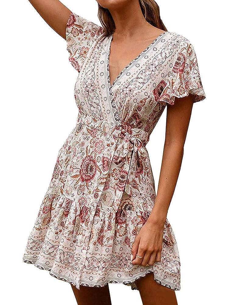 OranDesigne Sommerkleid Damen Kleider Boho Vintage Strandkleid Frauen Minikleid V Ausschnitt A-Linie Kleid Knielang