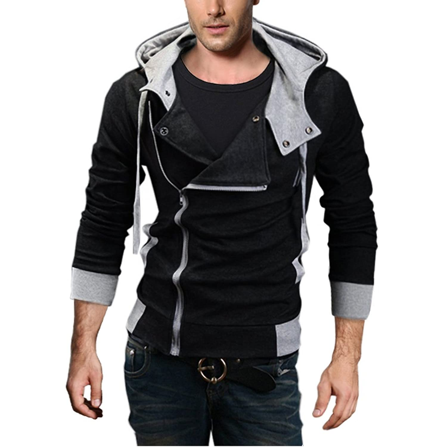 DJT Men's Oblique Zipper Hoodie Casual Top Coat Slim Fit Jacket at ...