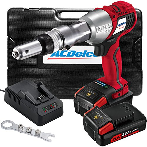 ACDelco Cordless Li-ion 20V MAX BRUSHLESS Rivet Gun Tool Kit with Charger, 2 Batteries, and Nose Pieces - 3,375 lb. Max Setting Force P20 Series ARV20104B