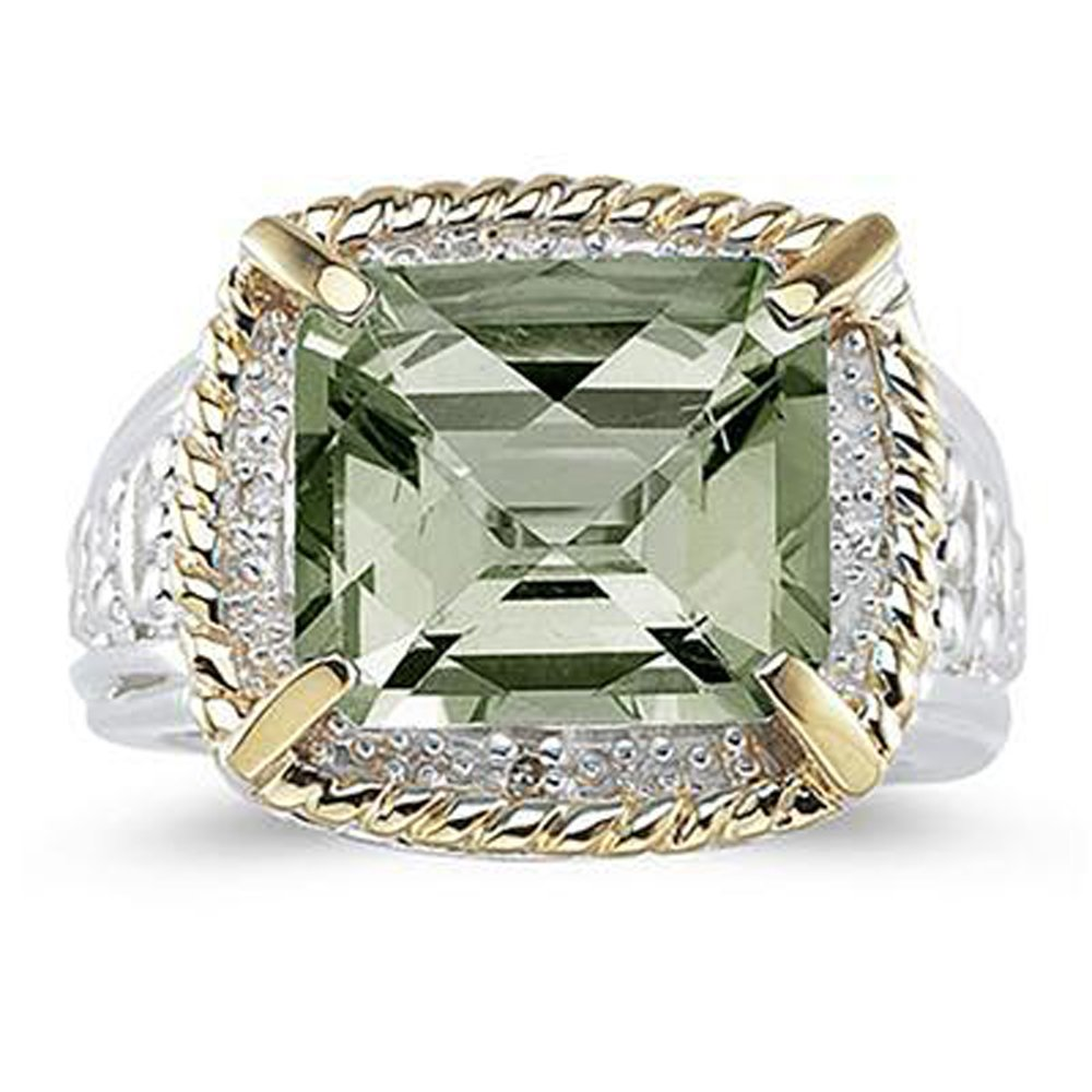 Silvostyles 7.60 Ct Emerald Cut Green Amethyst And Sim. Diamond Ring In 14K Two-Tone Plated
