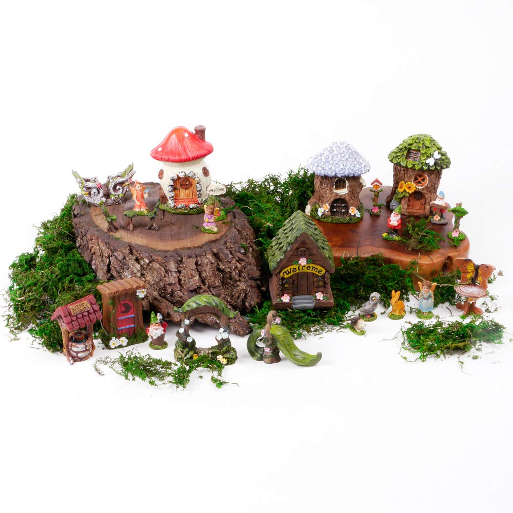 Mini Fairy Gardens Kit for Kids. Accessories & Supplies Are Moss, Houses, Fairies, Gnomes, Animals, Table & Chairs plus much more! Fun for Girls, Boys, Adults. 26 pc set Miniatures for indoor outdoor
