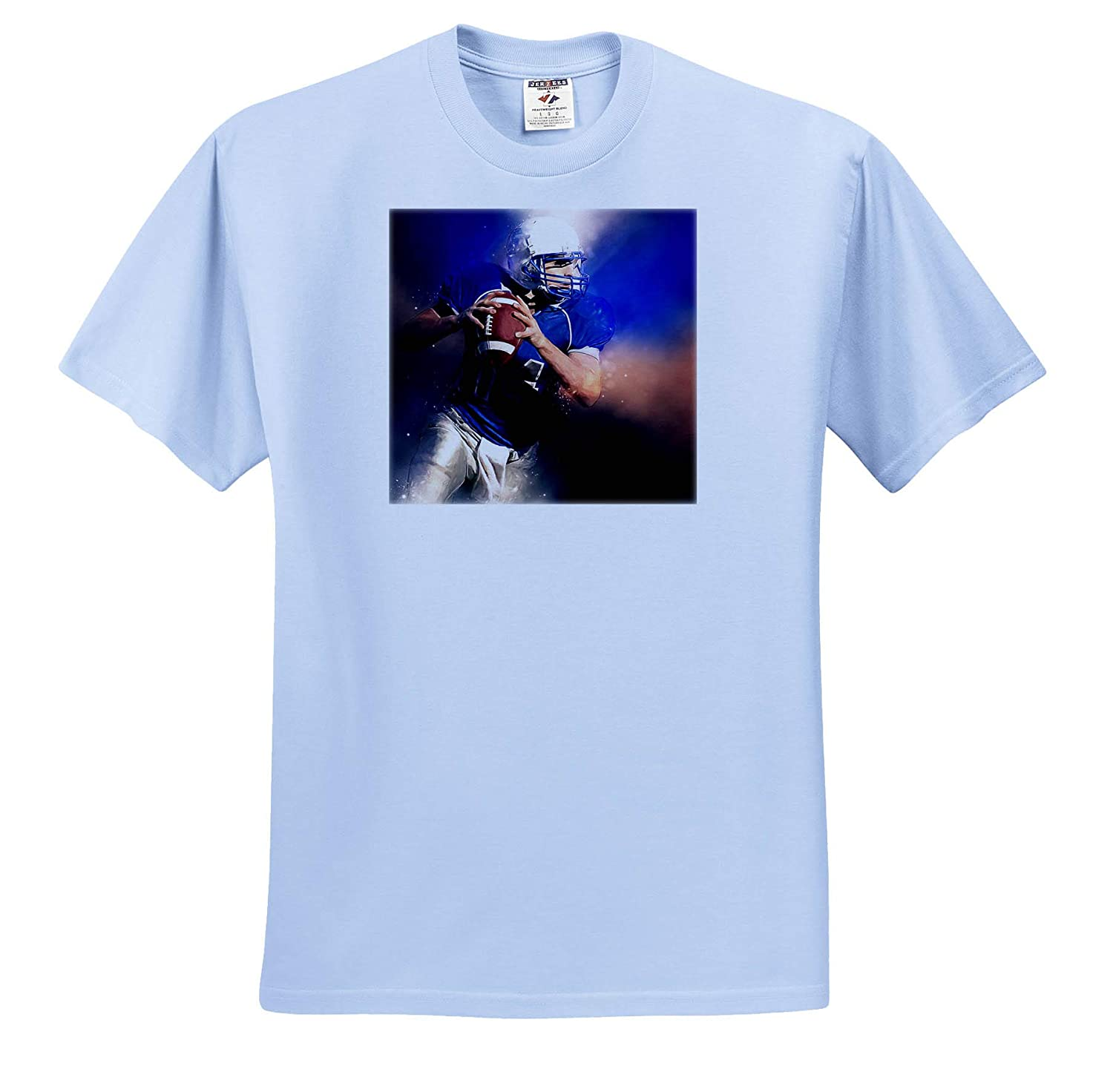 Football Player Painting in Shades of Blue and Brown for Sports Lovers T-Shirts 3dRose Doreen Erhardt Sports and Hobbies