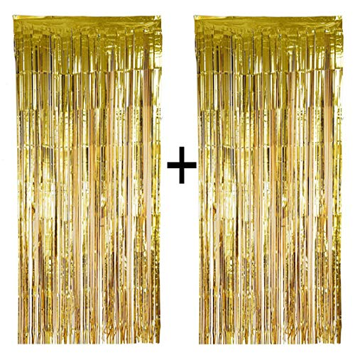 Lansian 2 Pack DIY Metallic Tinsel Gold Foil Fringe Curtain Party Decorations for Party Photo Backdrop Door Wall Wedding Decorations (Gold, 3.2ft x 9.8ft) ()