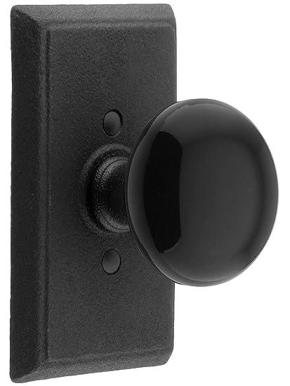 Etonnant Wrought Steel Providence Door Set With Black Porcelain Door Knobs Double  Dummy Flat Black