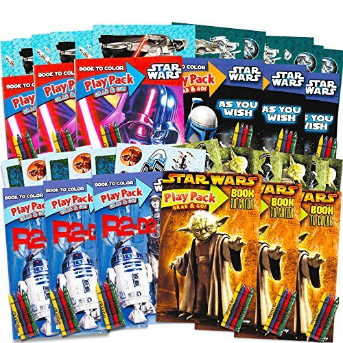 Star Wars Party Favors Set -- 12 Jumbo Star Wars Play Packs Filled with Coloring Books, Crayons and Stickers (Classic -