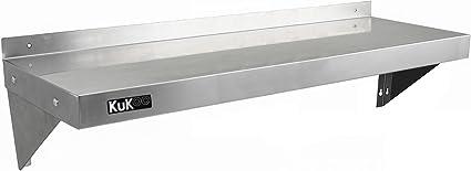 KuKoo - 2 Estantes de Pared 125cm x 30cm de Acero Inoxidable para Cocina Comercial, Café, Bar, Restaurante y Taller