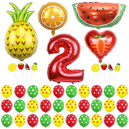 ONINIT Tutti-Frutti Second Birthday Party Decoration Sets for Kids 2nd Birthday Baby Shower Summer Fruits Theme Party
