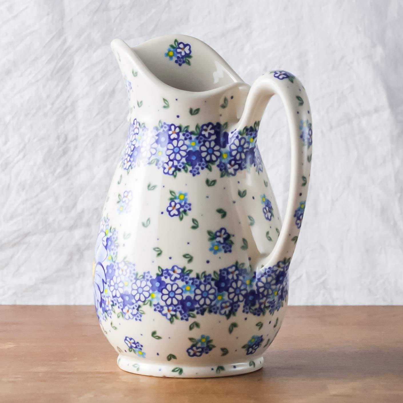 Poterie polonaise peinte /à la main et fabriqu/ée /à la main pour eau ou jus de fruits 1,7 l Motif floral bleu A116