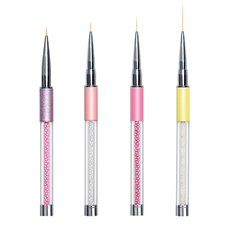 Ahier 4PCS Nail Art Liner Brushes, UV Gel Painting Nail Design Brush Pen,  Nail Dotting Painting Drawing...