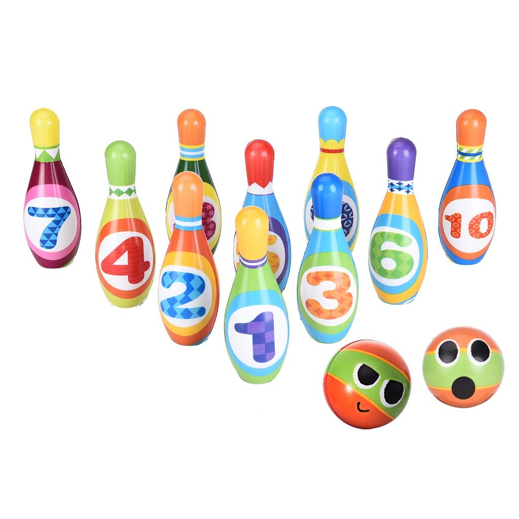 Viouyh Kids Bowling Toy Set Mini Bowling Game with 10 Bowling Pins & 2 Balls, Foam Ball Play Kit Lawn Yard Game for Adults and Family by Viouyh