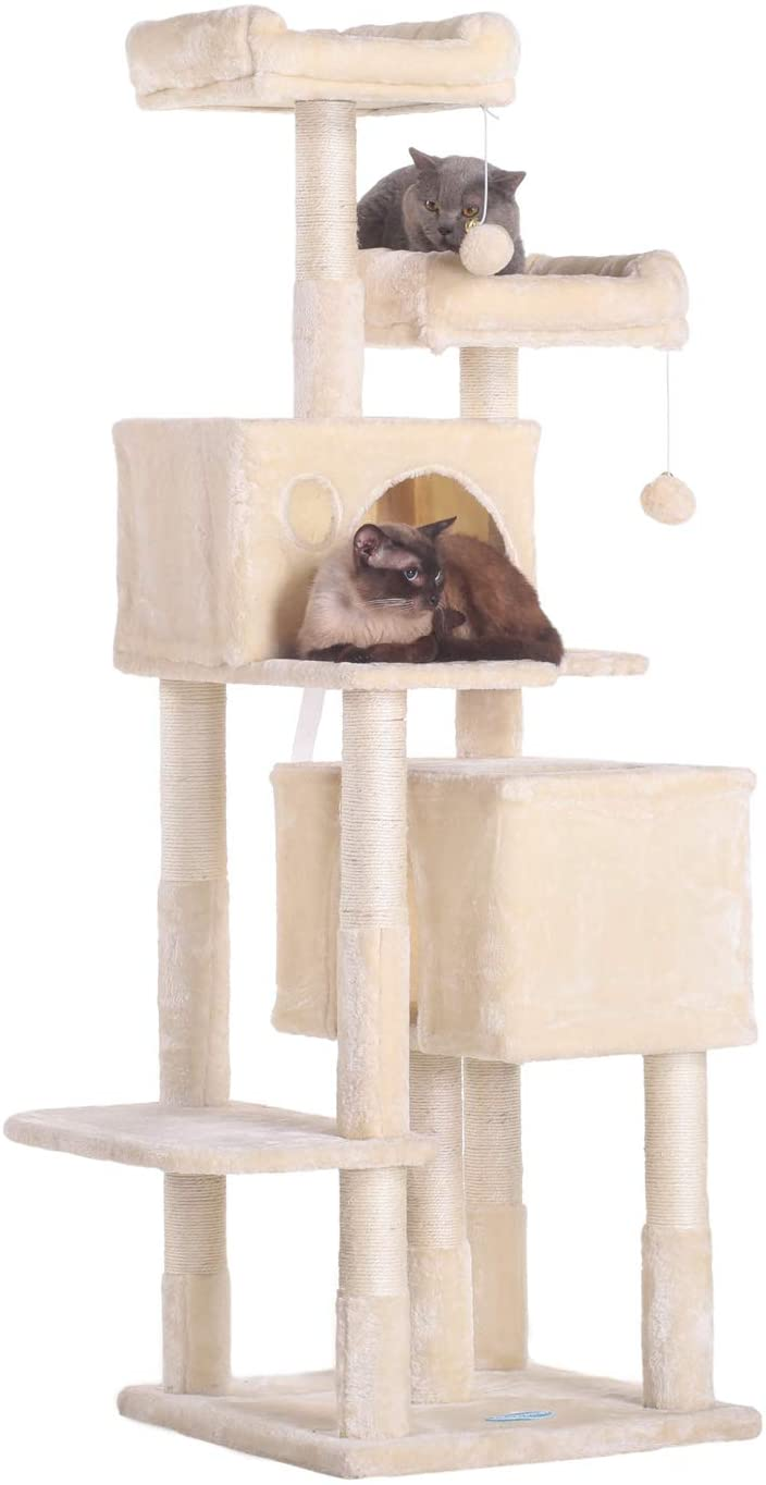 Hey-brother 60 inches Multi-Level Cat Tree Condo Furniture with Sisal-Covered Scratching Posts, 2 Plush Condos, 2 Plush Perches, for Kittens, Cats and Pets