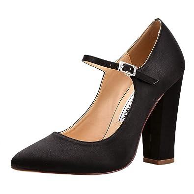db071b8f0b98 ElegantPark HC1903 Women Pointed Toe Block High Heel Pumps Mary Jane Satin Wedding  Bridal Evening Party