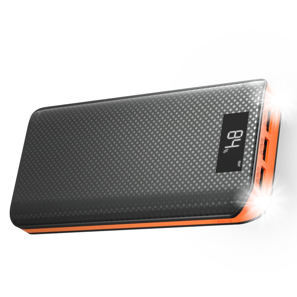 Power Bank, X-DRAGON 20000mAh Portable Charger 3-Port USB Output External Battery Charger Pack with LCD display for Phone 8 X 7 6 6s , Samsung, Cell Phones, Tablet, ipad and More-Orange by X-DRAGON
