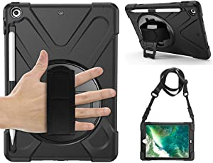 Gzerma Protective Case for New iPad 9.7 2018/2017 with Pencil Holder, Hand Strap, Shoulder Strap and Kickstand, for Apple iPad 9.7 inch A1893 / A1954 Case, Black