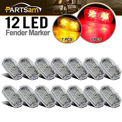 - Partsam 14x 4 Amber/Red Tiger Eye LED Light Trailer Stop Turn Marker Clear Set, Clear Lens 2x4 Double Bullseye LED Marker Truck Trailer ATV ORV Golf Cart Light Kit 3 Wires