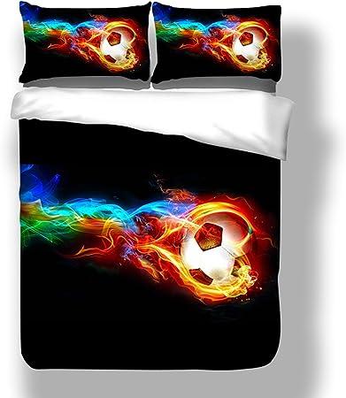 Juego de Cama de Funda de Edredón y Funda de Almohada 3D Futbol Negro Imprimir juego de sábanas (240 x 220 cm - Cama 150): Amazon.es: Hogar