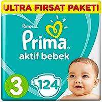 Prima Bebek Bezi Aktif Bebek 3 Beden Midi Ultra Fırsat Paketi, 124 Adet