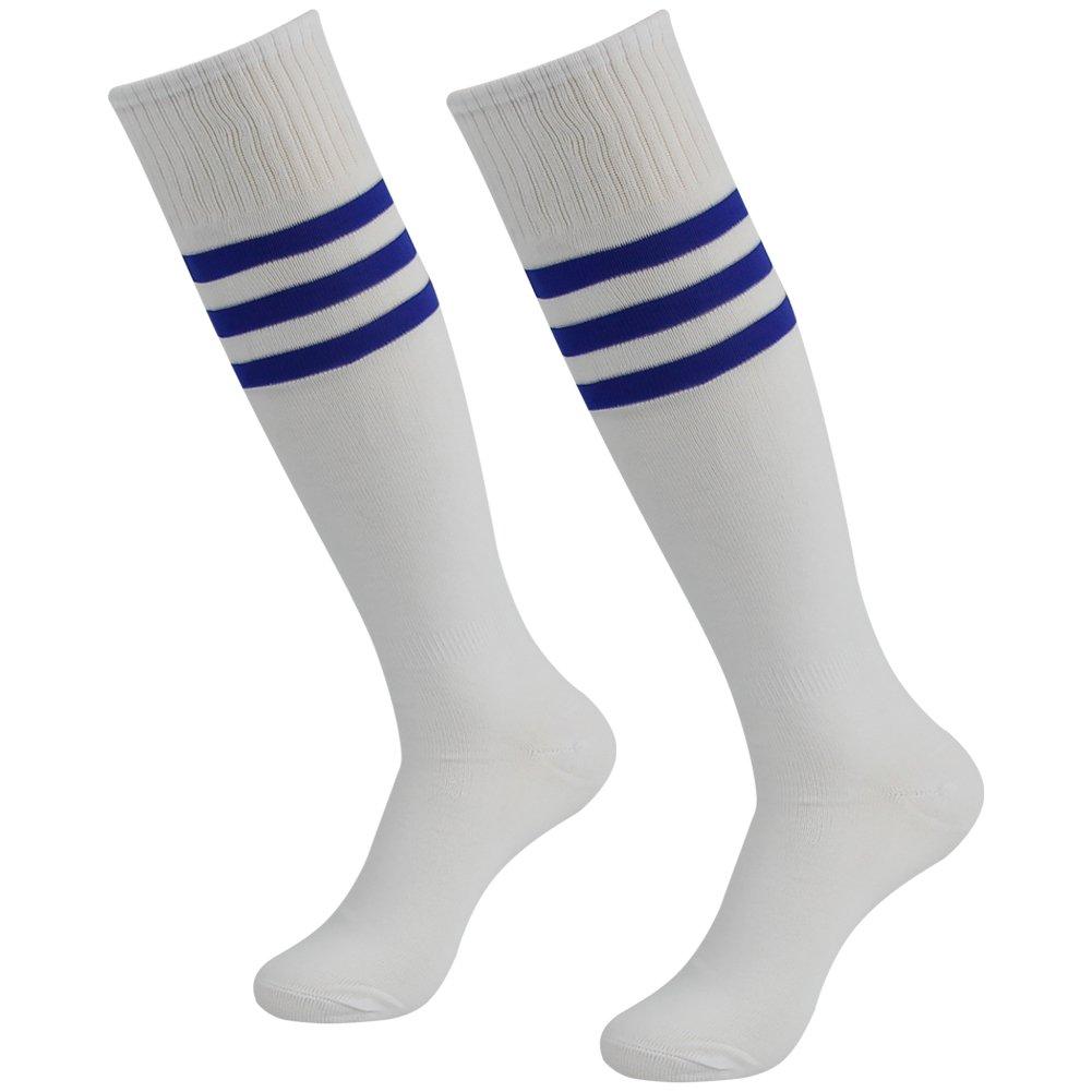 3street ユニセックス ニーハイ トリプルストライプ アスレチック サッカー チューブ ソックス 2 / 6 / 10組 B01GH360G6 White+Blue Stripe White+Blue Stripe