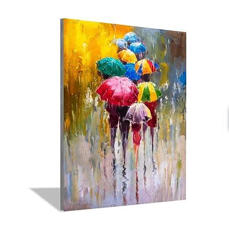 WSNDGWS Pintura Grande Pintado a Mano Amante Lluvia Paisaje ...