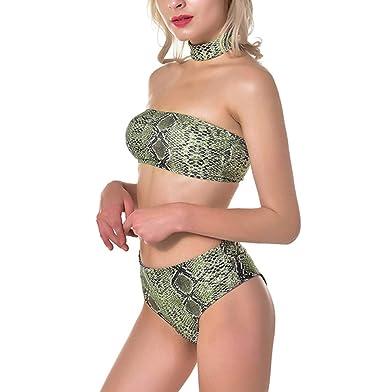 8ee296cac3647 Amazon.com: Bestag Women Strapless Snake Print High Waist Bikini Swimwear  Bathing Suit with Choker: Clothing
