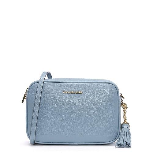 6ef85db77327 Michael Kors Pale Blue Pebbled Leather Camera Bag Blue Leather   Amazon.co.uk  Shoes   Bags