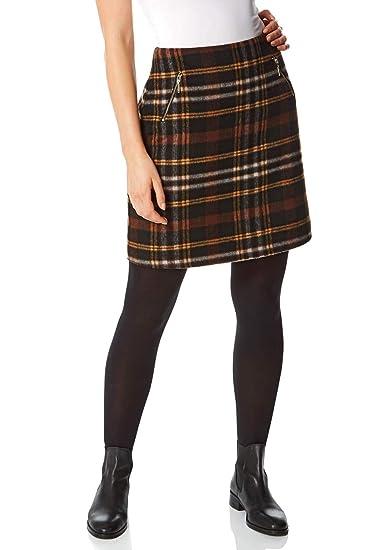 Roman Originals Falda de Cuadros cepillados para Mujer, 2% algodón ...