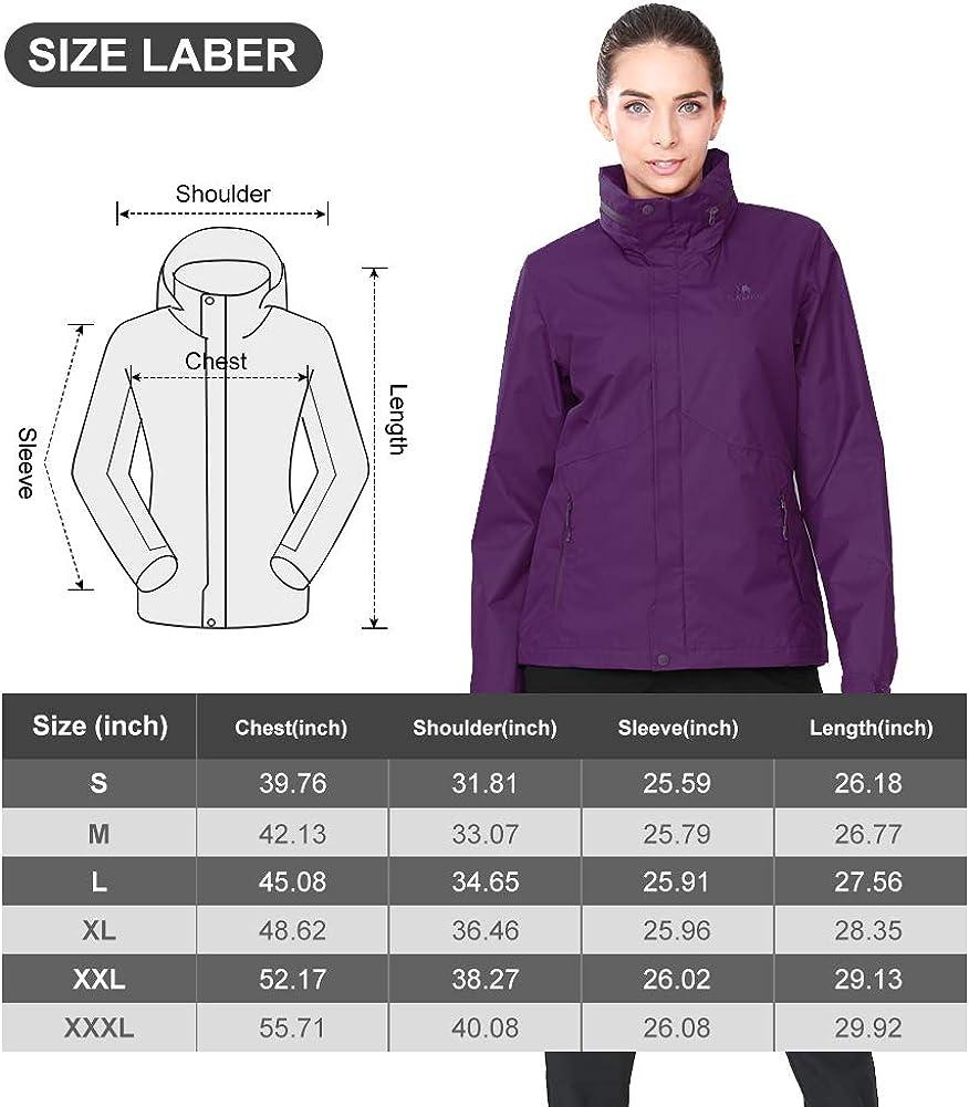 CAMEL CROWN Womens Rain Jacket Waterproof Coat with Hideaway Hood