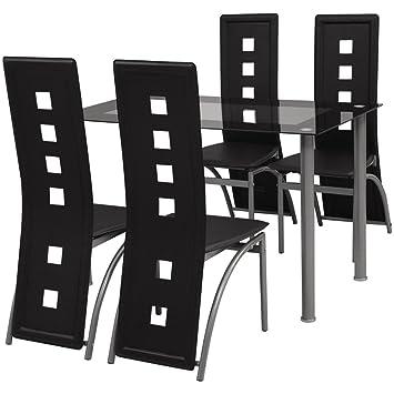 VidaXL Essgruppe Sitzgruppe 1 Esstisch Küchentisch 4 Esszimmerstühle  Hochlehner Schwarz