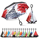 Inverted Umbrella, Best Windproof Umbrella, Cars Reverse Umbrella, Beautiful Rain Umbrella with UV Protection, Upside Down Umbrella with C-Shaped Handle and Carrying Bag (Green Shade)