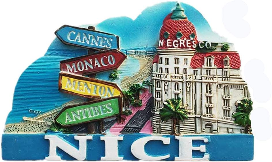 Nice France 3D Fridge Magnet Travel Souvenir Gift Collection, Home & Kitchen Decoration Magnetic Sticker Nice France Refrigerator Magnet