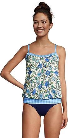 Womens Lands End Blouson Tummy Hiding Tankini Top Swimsuit Size 14 DDD