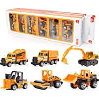 SKYRI Conjunto de Coche de Juguete Modelo de Juguete Aleación Diecast Car Regalo para niños -6 Piezas (Amarillo)