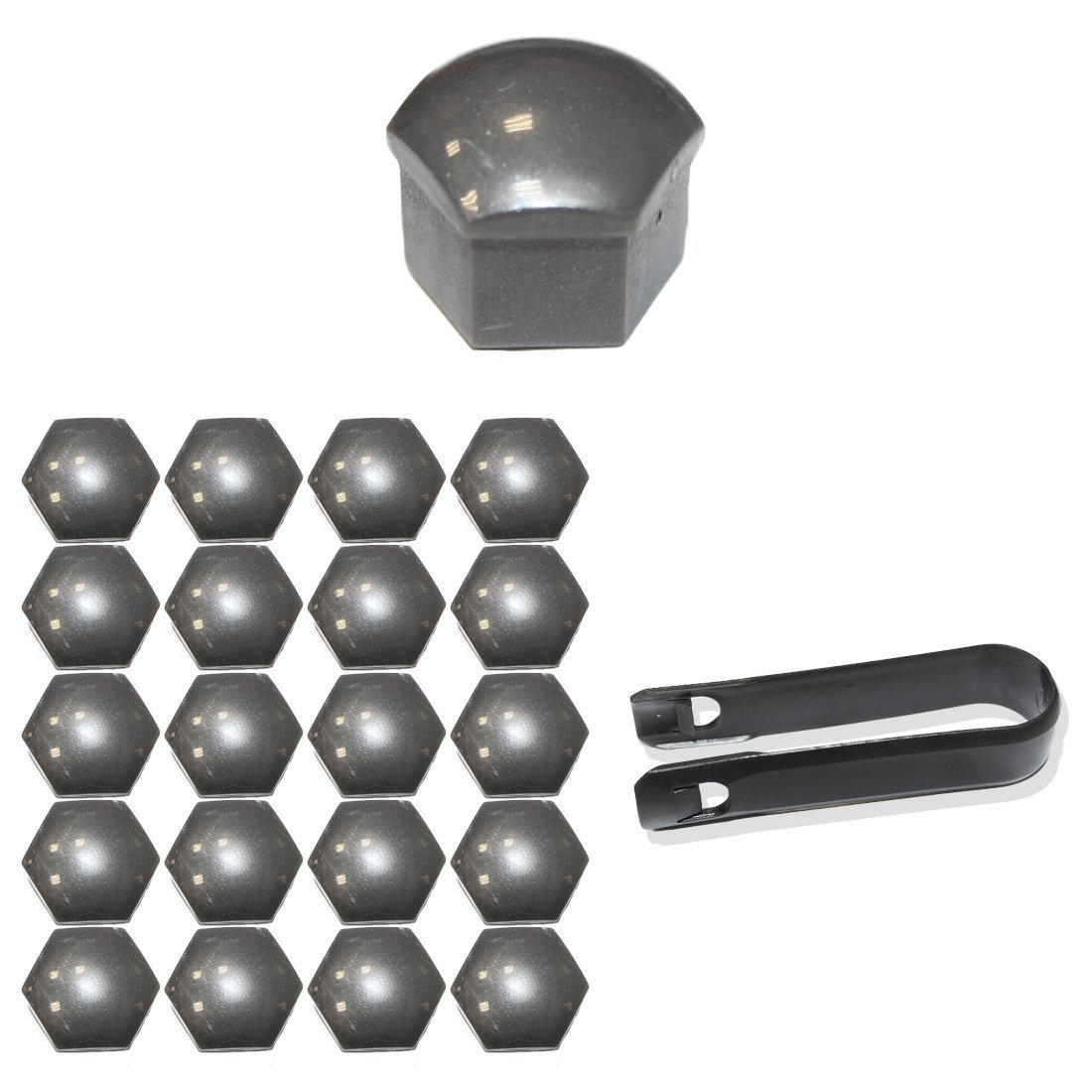 Tuqiang® 20x Caps Set Covers 17MM Wheel Nuts Caps Wheel Bolts Wheel Bolts Caps Including Puller Gray
