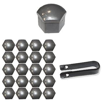 Juego de 20 capuchones de Tuqiang® para tornillos de ruedas de 17 mm, incluye extractor