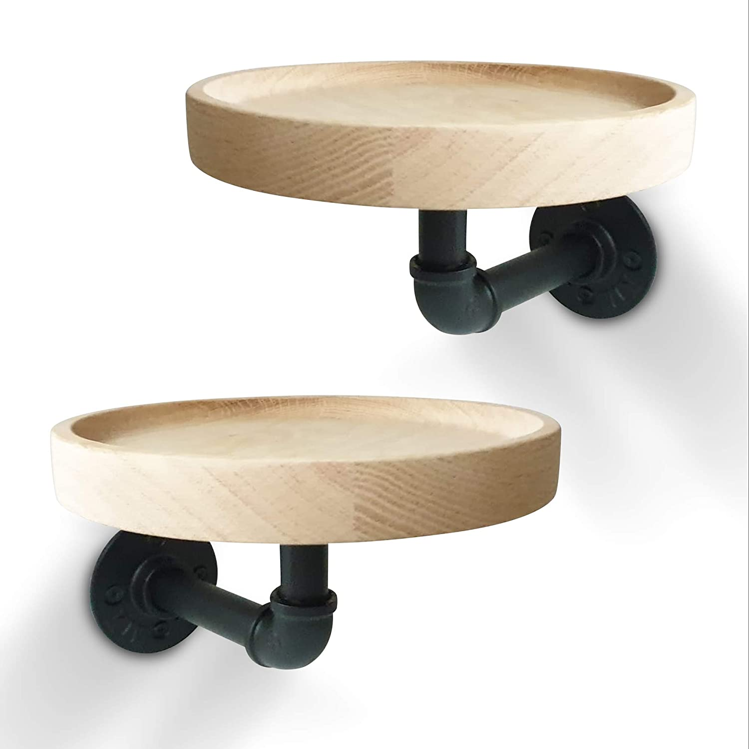Round Oak Wood Rustic Floating Shelves, Deep Wall Hanging Shelf with Metal Industrial Pipe Brackets, 7.1 inches Diameter. Room Décor, Home Décor, Kitchen, Bedroom, Bathroom, Office Storage (2 Pack)