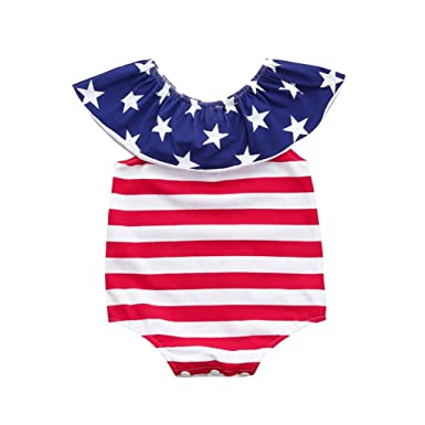368bf5d078cdd Amazon.com: Vicbovo 4th of July Baby Boy Girl America Flag Print Summer  Sleeveless Romper Jumpsuit Bodysuit: Clothing