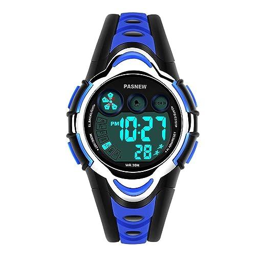 Reloj de Pulsera para niños de 50 m, Resistente al Agua, Deportivo, LED