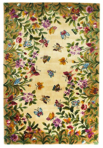 KAS Oriental Rugs Emerald Collection Butterfly Garden Area Rug, 2' x 3', Antique Beige