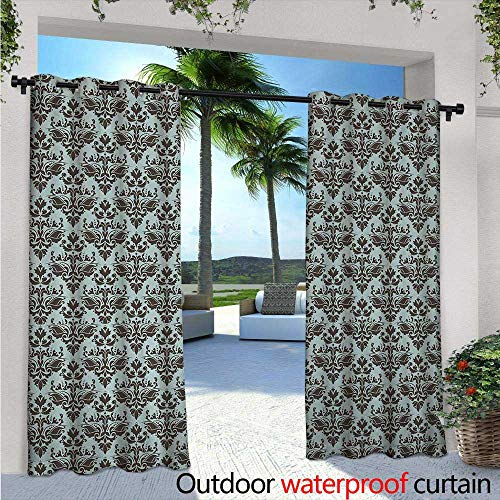 BlountDecor Damask Balcony Curtains W84 x L96 Damask Shapes Motif Western Modular Leaves and Rayon Curving Lines Creative Floral Outdoor Patio Curtains Waterproof with Grommets Teal Brown
