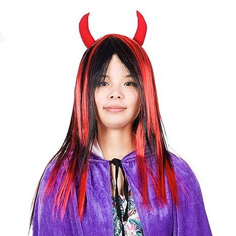 Pelucas de mujeres - Peluca de vampiro del diablo rojo y ...