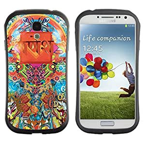 Hybrid Anti-Shock Bumper Case for Samsung Galaxy S4 / Cool Psychedelic Pattern