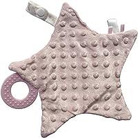 Dou dou (mantita de apego) en forma de estrella con mordedera (rosa)