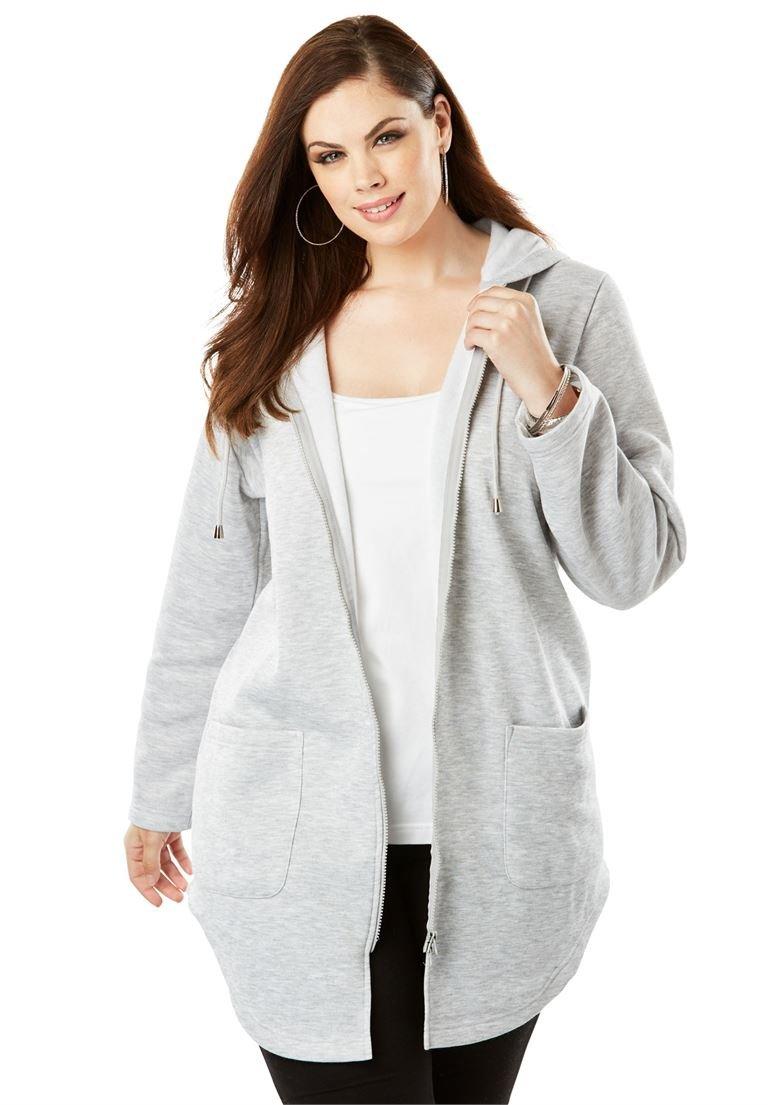 Roamans Women's Plus Size Lightweight Hooded Fleece Jacket
