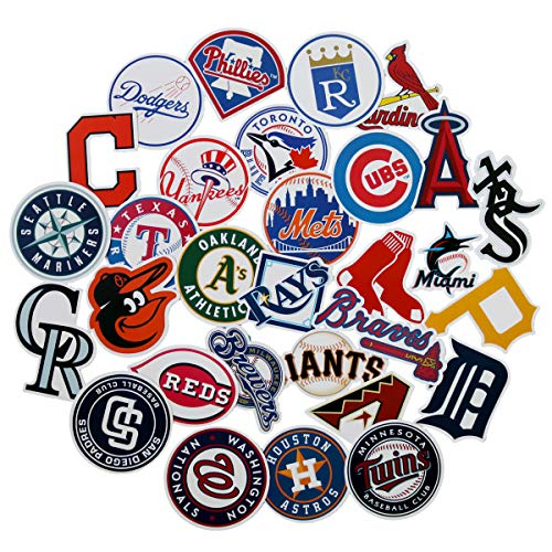 30pcs MLB Baseball Team Logo Laptop Vinyl Stickers car Sticker for Snowboard Motorcycle Bicycle Phone Computer DIY Keyboard Car Window Bumper Wall Luggage Decal Graffiti Patches (MLB Logo) -